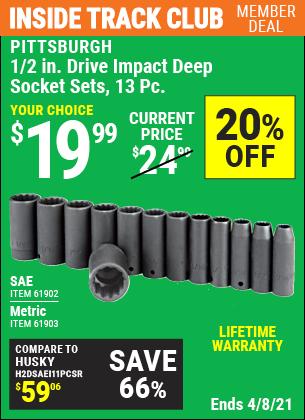 1/2 in. Drive SAE Impact Deep Socket Set, 13 Pc.