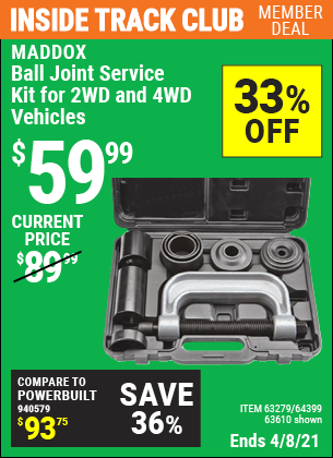 Inside Track Club members can buy the MADDOX Ball Joint Service Kit For 2WD And 4WD Vehicles (Item 63610/63279/64399) for $59.99, valid through 4/8/2021.