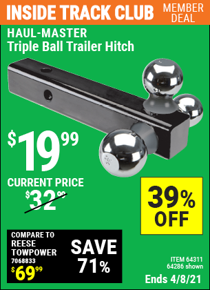 Inside Track Club members can buy the HAUL-MASTER Triple Ball Trailer Hitch (Item 64286/64311) for $19.99, valid through 4/8/2021.