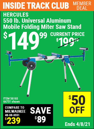 550 lb. Universal Aluminum Mobile Folding Miter Saw Stand
