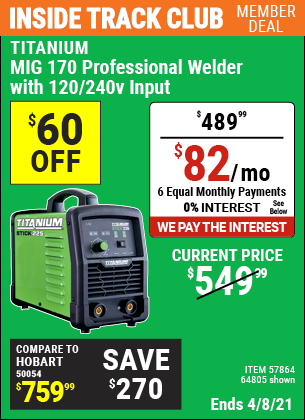 Inside Track Club members can buy the TITANIUM MIG 170 Professional Welder with 120/240 Volt Input (Item 64805/57864) for $489.99, valid through 4/8/2021.