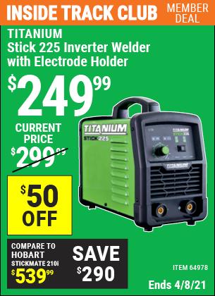 Stick 225 Inverter Welder with Electrode Holder