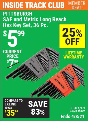 SAE & Metric Long Reach Hex Key Set, 36 Pc.