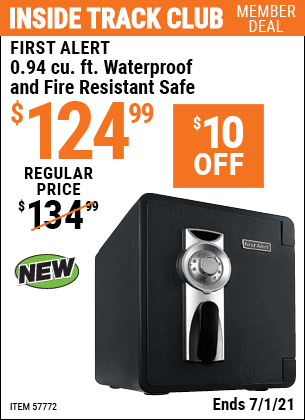 Inside Track Club members can buy the FIRST ALERT 0.94 Cu. Ft. Waterproof And Fire Resistant Safe (Item 57772) for $124.99, valid through 7/1/2021.