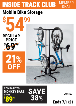 Inside Track Club members can buy the HFT Mobile Bike Storage (Item 61231) for $54.99, valid through 7/1/2021.