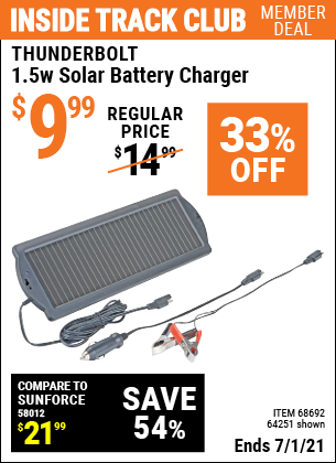 Inside Track Club members can buy the THUNDERBOLT 1.5 Watt Solar Battery Charger (Item 62449/68692/64251) for $9.99, valid through 7/1/2021.
