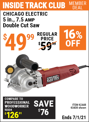 Inside Track Club members can buy the CHICAGO ELECTRIC 5 in. 7.5 Amp Heavy Duty Double Cut Saw (Item 63408/62448) for $49.99, valid through 7/1/2021.