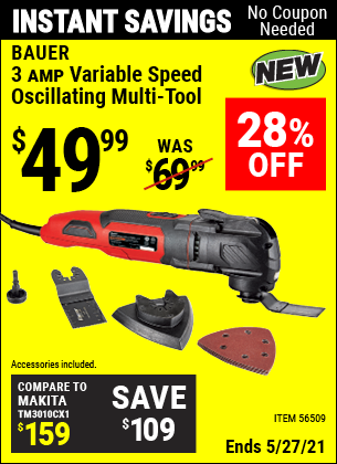 Buy the BAUER 3A Variable Speed Oscillating Multi-Tool (Item 56509) for $49.99, valid through 5/27/2021.
