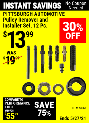 Buy the PITTSBURGH AUTOMOTIVE Pulley Remover and Installer Set 12 Pc. (Item 63068) for $13.99, valid through 5/27/2021.
