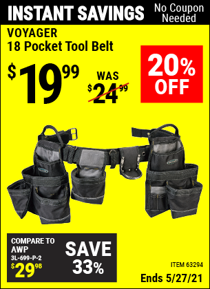 Buy the VOYAGER 18 Pocket Heavy Duty Tool Belt (Item 63294) for $19.99, valid through 5/27/2021.