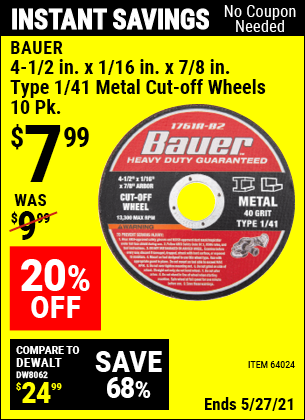 Buy the BAUER 4-1/2 in. 40 Grit Metal Cut-off Wheel 10 Pk. (Item 64024) for $7.99, valid through 5/27/2021.