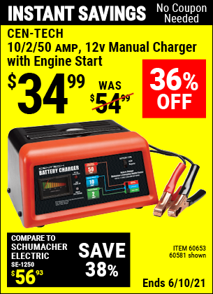 Buy the CEN-TECH 12V Manual Charger With Engine Start (Item 60581/60653) for $34.99, valid through 6/10/2021.