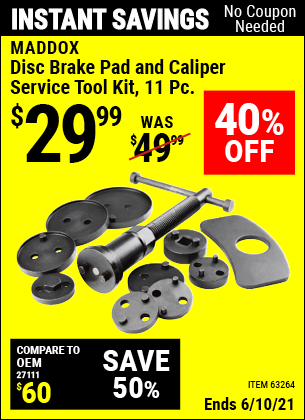 Buy the MADDOX Disc Brake Pad and Caliper Service Tool Kit 11 Pc. (Item 63264) for $29.99, valid through 6/10/2021.