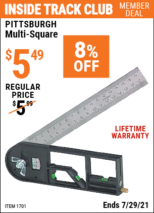Inside Track Club members can buy the PITTSBURGH Multi-Square (Item 1701) for $5.49, valid through 7/29/2021.