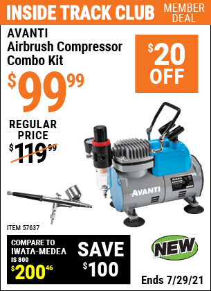 Inside Track Club members can buy the AVANTI Airbrush Compressor Combo Kit (Item 57637) for $99.99, valid through 7/29/2021.