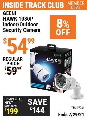 Inside Track Club members can buy the GEENI HAWK 1080P Indoor/Outdoor Security Camera (Item 57724) for $54.99, valid through 7/29/2021.