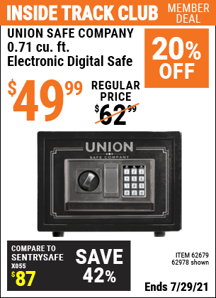 Inside Track Club members can buy the UNION SAFE COMPANY 0.71 cu. ft. Electronic Digital Safe (Item 62978/62679) for $54.99, valid through 7/29/2021.