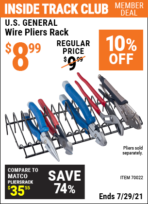 Inside Track Club members can buy the U.S. GENERAL Wire Pliers Rack (Item 70022) for $8.99, valid through 7/29/2021.