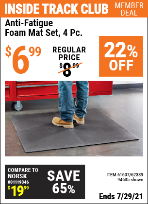 Inside Track Club members can buy the HFT Anti-Fatigue Foam Mat Set 4 Pc. (Item 94635/61607/62389) for $6.99, valid through 7/29/2021.