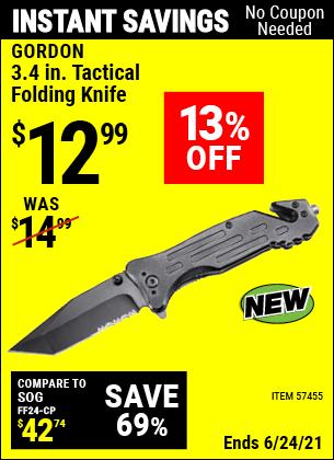 Buy the GORDON 3.4 In. Pocket Knife (Item 57455) for $12.99, valid through 6/24/2021.