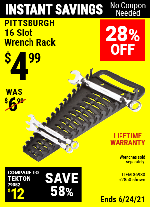 Buy the PITTSBURGH 16 Slot Wrench Rack (Item 62850/36930) for $4.99, valid through 6/24/2021.