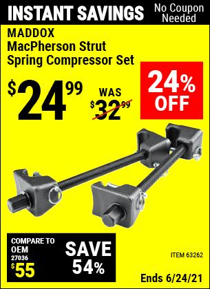 Buy the MADDOX MacPherson Strut Spring Compressor Set (Item 63262) for $24.99, valid through 6/24/2021.