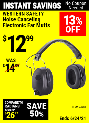 Buy the WESTERN SAFETY Noise Canceling Electronic Ear Muffs (Item 92851) for $12.99, valid through 6/24/2021.