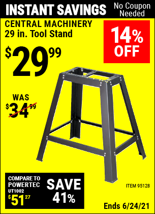 Buy the CENTRAL MACHINERY 29 In. Heavy Duty Tool Stand (Item 95128) for $29.99, valid through 6/24/2021.