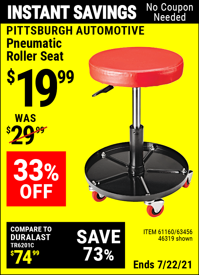 Buy the PITTSBURGH AUTOMOTIVE Pneumatic Roller Seat (Item 46319/61160/63456) for $19.99, valid through 7/22/2021.