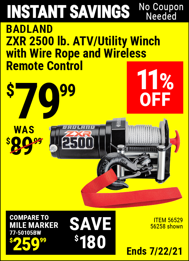 Buy the BADLAND 2500 Lb. ATV/Utility Electric Winch With Wireless Remote Control (Item 56258/56529) for $79.99, valid through 7/22/2021.