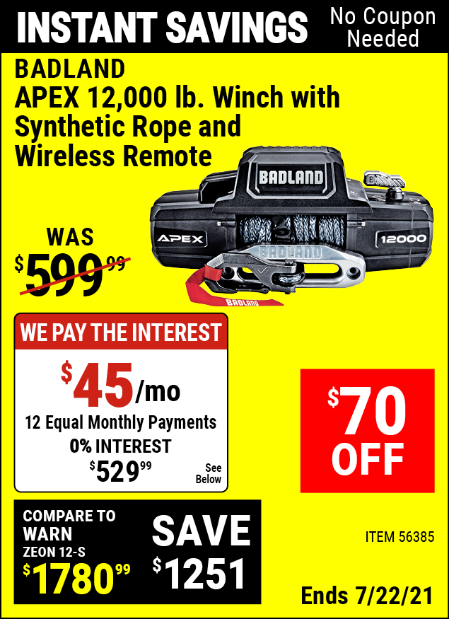 Buy the BADLAND APEX Synthetic 12000 Lb. Wireless Winch (Item 56385) for $529.99, valid through 7/22/2021.