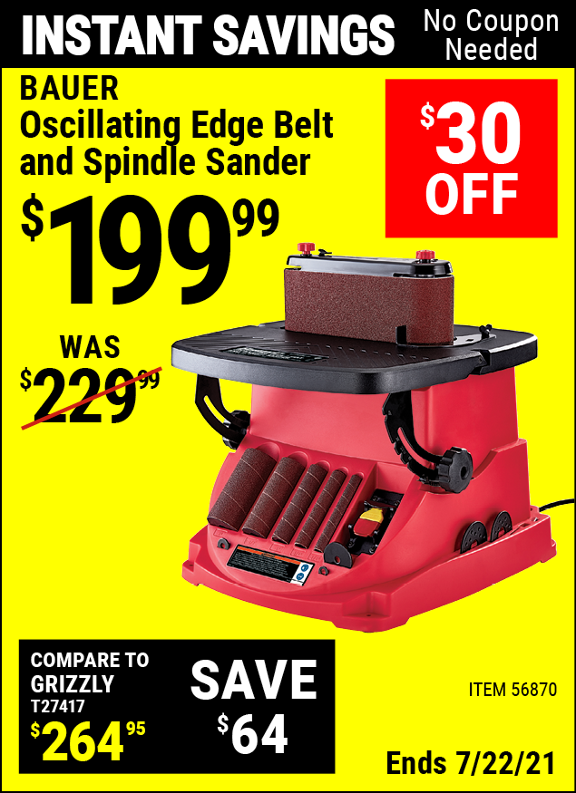 Buy the BAUER Oscillating Edge Belt And Spindle Sander (Item 56870) for $199.99, valid through 7/22/2021.