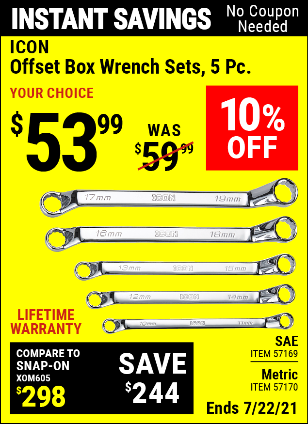 Buy the ICON SAE Offset Box Wrench Set, 5 Pc. (Item 57169) for $53.99, valid through 7/22/2021.