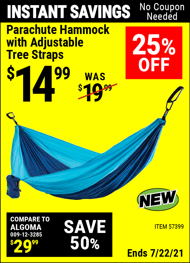 Buy the Parachute Hammock With Adjustable Tree Straps (Item 57399) for $14.99, valid through 7/22/2021.