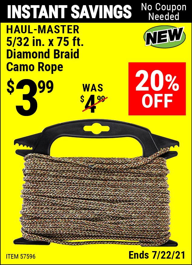 Buy the HAUL-MASTER 5/32 In. X 75 Ft. Diamond Braid Camo Rope (Item 57596) for $3.99, valid through 7/22/2021.