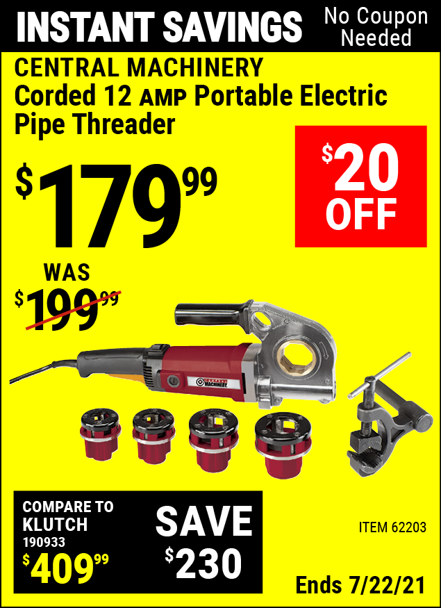 Buy the CENTRAL MACHINERY Portable Electric Pipe Threader (Item 62203) for $179.99, valid through 7/22/2021.