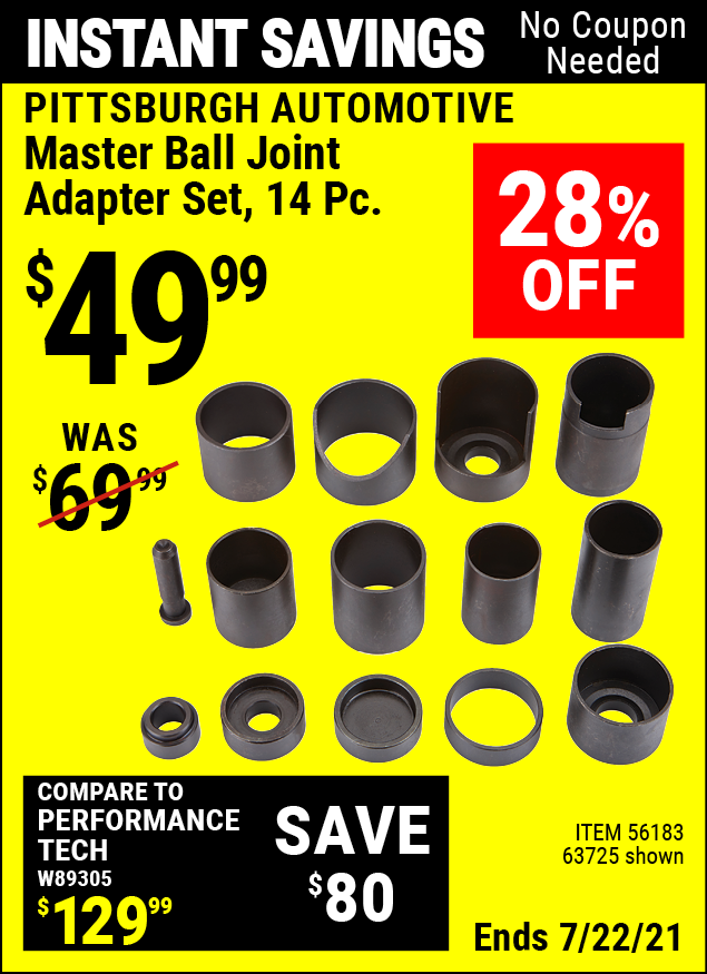 Buy the PITTSBURGH AUTOMOTIVE Master Ball Joint Adapter Set 14 Pc. (Item 63725/56183) for $49.99, valid through 7/22/2021.