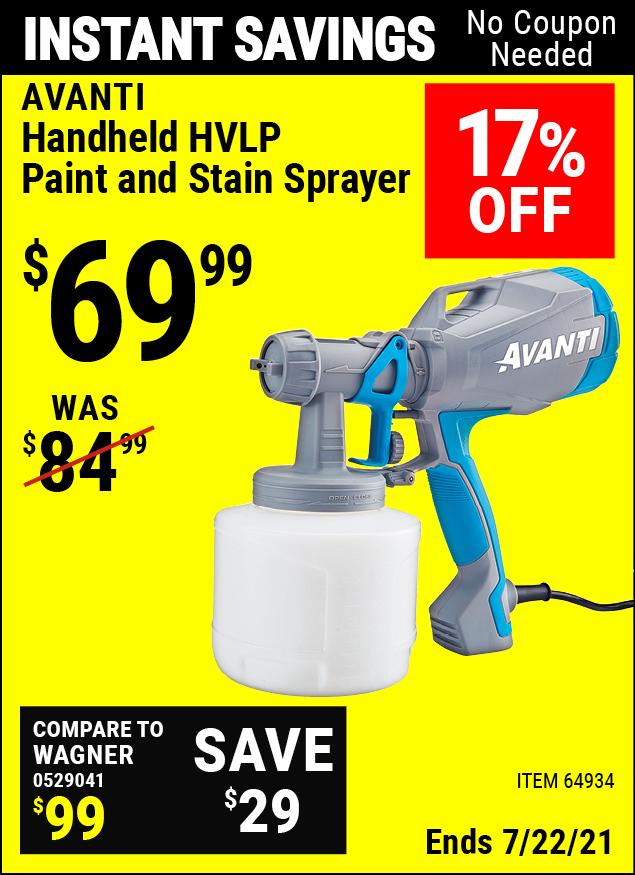 Buy the AVANTI Handheld HVLP Paint & Stain Sprayer (Item 64934) for $69.99, valid through 7/22/2021.