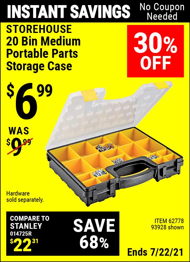 Buy the STOREHOUSE 20 Bin Medium Portable Parts Storage Case (Item 93928/62778) for $6.99, valid through 7/22/2021.